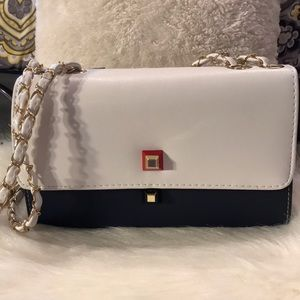 Navy and White Flap over purse